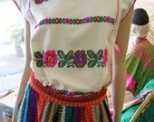 70s Sheer Manta Mexican Peasant Top Blouse Hand Embroidered