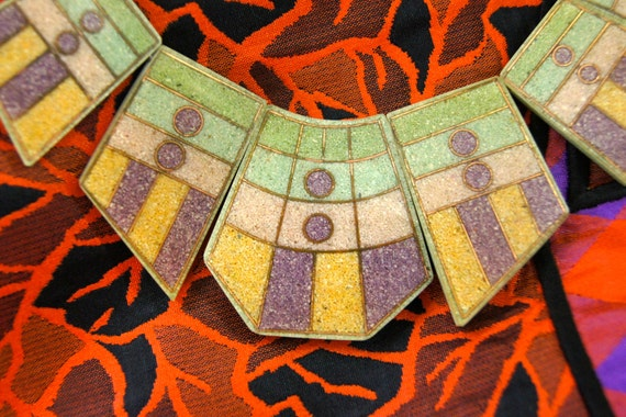 Vintage Pressed Insane GEOMETRIC BIB NECKLACE