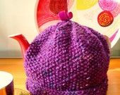 Hand-knitted Aran Tea Cosy Purple