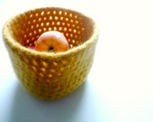 Crochet Felt Basket in Bamboo Yellow - Christmas Gift Idea, Hostess Gift or Home Decor