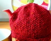 Tea Cosy or Teapot Cozy - Hand-knitted in Brick Red - Christmas Gift Idea, Hostess Gift or Winter Home Decor