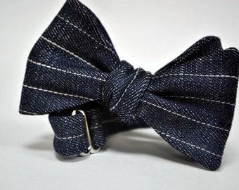 Denim Pinstripe Bow Tie