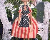 Primitive Americana Miss Independence  Mailed Paper Doll Pattern OFG FAAP