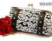 White Bat Print Clutch with Your Choice of Vinyl Trim - MADE TO ORDER