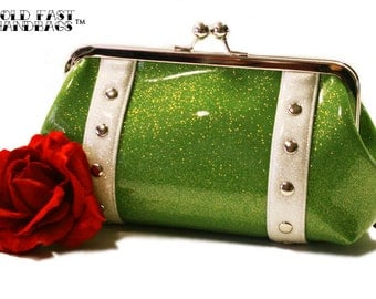 Lime Green Sparkle Clutch - Green Glitter Bag - Sparkle Vinyl Purse - Rockabilly Clutch - MADE TO ORDER