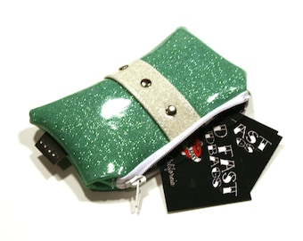 Aqua Sparkle Vinyl Pouch with Your Choice of Trim, Retro Rockabilly Coin Purse, Seafoam, Mint Green - MADE TO ORDER