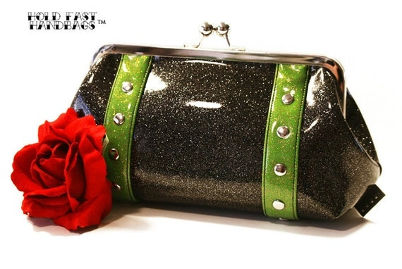 Black Sparkle Clutch, Vinyl Purse, Rockabilly Bag, Pinup Purse - MADE TO ORDER