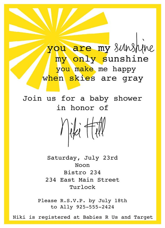 you are my sunshine baby shower invitation by megtabdesigns