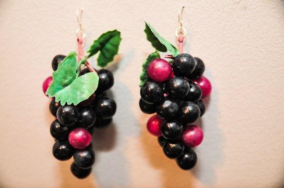 Food Jewelry Dangle Fruit Grape Earrings