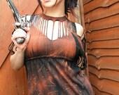 Post Apocalyptic Kimono Goth Zombie Babydoll Metal Punk Shredded Woven Reversable Shirt Warrior Clothing