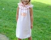 NEW.. Orange and White Seersucker Ruffle Neck Girls Boutique Dress.. Sizes 6m-6Y..sun dress summer dress