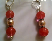 SALE Touch of romance orange jade and pink pearl earrings with silver plated findings