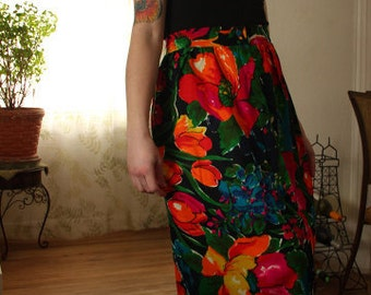 vtg 70s Technicolor FLORAL Lounge Maxi NWOT Skirt  -  S / M taLL
