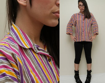 Vintage 80s Complimentary Violet Yellow STRIPES Batwing Dolman Button Front Collared Shirt MESH Buttons - S Small M Medium