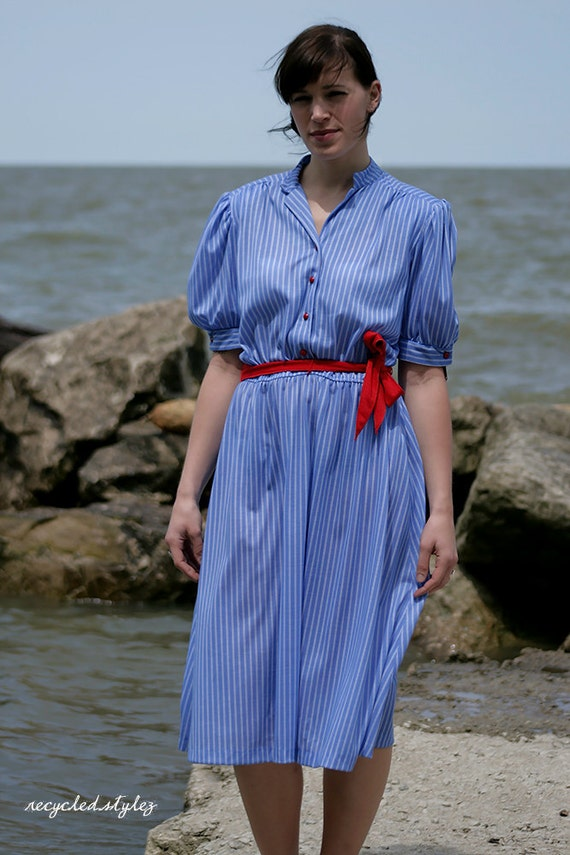 sailor gal  --  Vintage 70s DEAD STOCK Puff Sleeve Pinstriped Belted Shirt Dress - L / XL