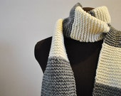 Gray and white stripe long scarf