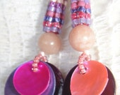 Handwoven Earrings Herringbone Stripes with Pink Lepidolite and Shell
