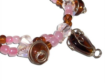 Pink and Clear with Brown Hearts and Circles Double Bracelet