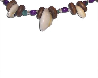 Shell, Wood, and Glass Beaded Necklace