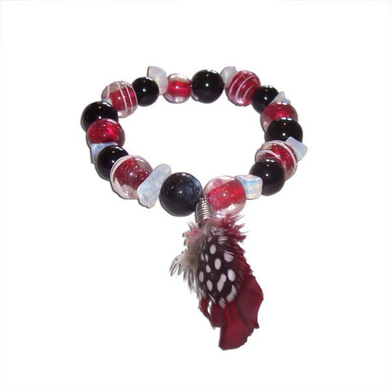 Red, Clear, and Black Glass with Feather Charm Bracelet