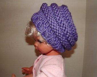 Hand Knit Hat-  Children's Accordian Slouch Beret-  Dark Lilac