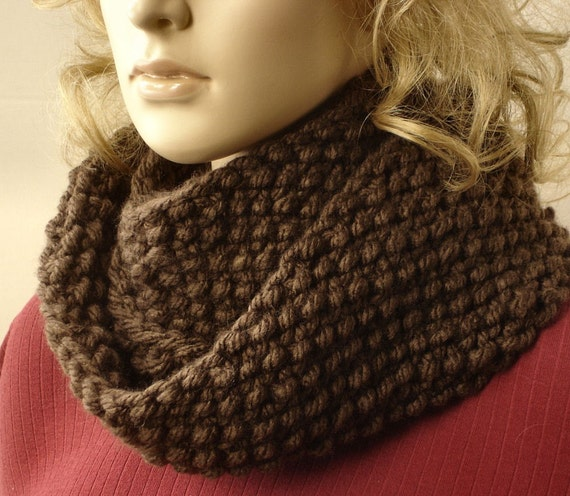 Hand Knit Cowl- Seed Stitch Cowl- Brown