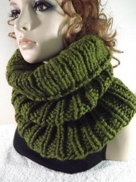 Hand Knit Cowl- Chunky Long Rib Cowl- Olive Green