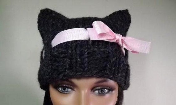 Cat Beanie Gray Cat Hat With Pink Grosgrain Ribbon Bow  Miss Kitty Cat Woman Halloween Fashion Accessories