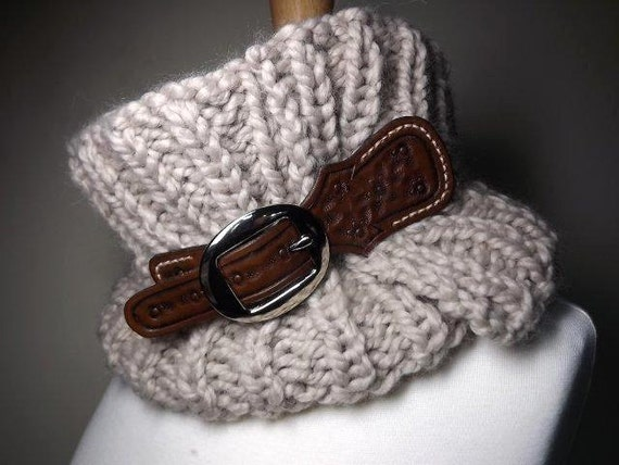 Hand Knit Cowl- The Equestrian Cowl Linen Beige Tan Adjustable Scarf With Hand Tooled Leather Buckle Strap