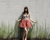 Handmade Dress from Vintage Materials in Check Print and Ombre Gauze Linen