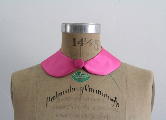 Neon Pink Peter Pan Collar . Fabric Necklace . Detachable Neck Wear . MADE TO ORDER by Vera Vague