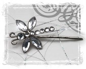 Rhinestone Dragonfly Bobby Pin, Silver Hair Tinsel - Accessories - Weddings, Maid Of Honor Gift, Bridesmaids Gift, Sparkle, Spring, Summer