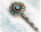 Bella Bobby Pin - Vintage Style - Turquoise And Bronze - Hair Accessories - Wedding Weddings - Maid Of Honor Gift