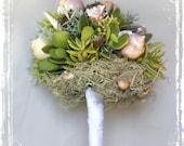 Gift Of The Sea Bridal Bouquet - Succulent And Seashell Bouquet - Beach Sea Ocean Wedding - Bridesmaids -Spring Summer Weddings