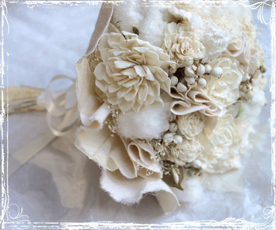 Cream And Cotton Bridal Bouquet  - Accessories - Country - Natural Cotton Bolls - Fabric And Dried Flowers Ivory - Wedding Summer