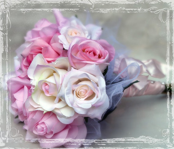 Shabby Chic Rose Bouquet  - Pale Pink And Blush Bridal Bouquet - Wedding Weddings - Summer Romance Pastel