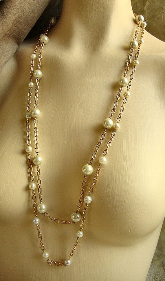 Mother's Day SALE Beautiful Double Stranded Faux Rose Gold Chain Link Necklace With Glass Pearls