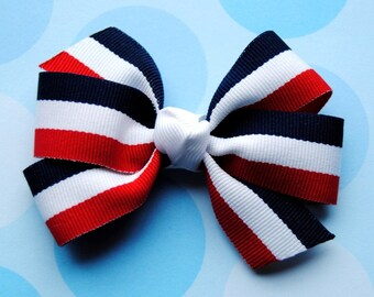 Patriotic Stripes Red, White, & Blue Hair Bow