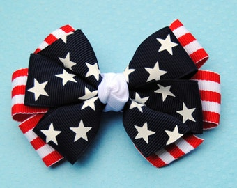Stars & Stripes Layered Patriotic Hair Bow
