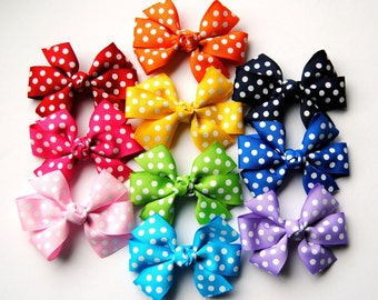 2-pack of Medium Size Polka Dot Hair Bows - You Choose the Colors