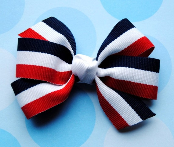Patriotic Stripes Red, White, & Blue Hair Bow