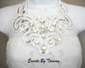SALE- Glam White Bib/Statement Necklace With Silver Sequins and Rhinestone Bling - Hollywood Wedding