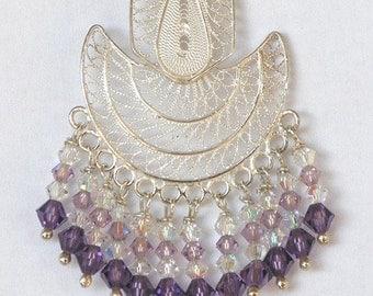 FIligree Earrings silver chandeliers