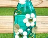 Turquoise and White Floral Themed Glass Bottle Light, Lighted Bottle, Night Light