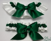 Wedding garters - bridal garters - emerald green and white garters - green garters - emerald green garters - emerald green satin garter set