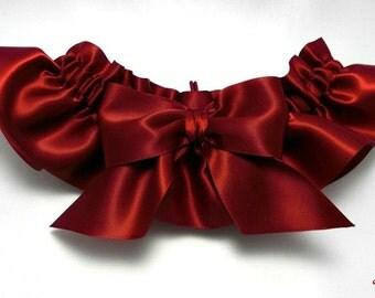 Wedding garter - bridal garter - ruby red garter with big ruby red bow - marsala satin toss garter - deep red prom garter - marsala garter