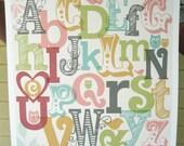 Owls & Birds Alphabet Poster - Girl - Pick Your Size