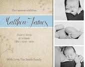 Custom Baby Boy Birth Announcement - Printable PDF
