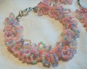 COTTON CANDY Frilly Bracelet and Dangle Earrings Set