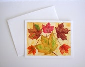 Brown Autumn - blank note card with original watercolor illustrations